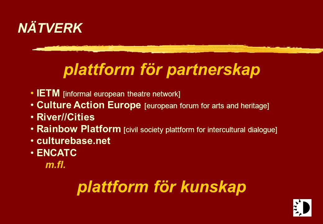 NÄTVERK plattform för partnerskap IETM [informal european theatre network] Culture Action Europe [european forum for arts and heritage] River//Cities