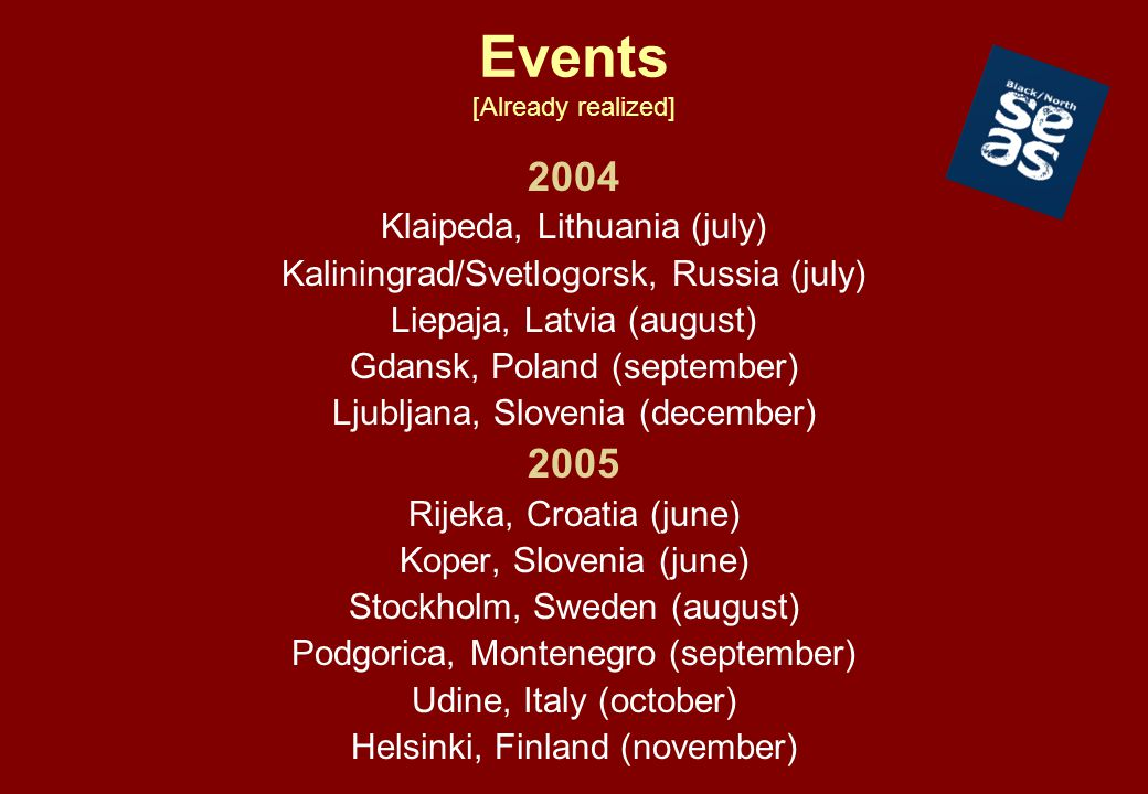 Events [Already realized] 2004 Klaipeda, Lithuania (july) Kaliningrad/Svetlogorsk, Russia (july) Liepaja, Latvia (august) Gdansk, Poland (september) L