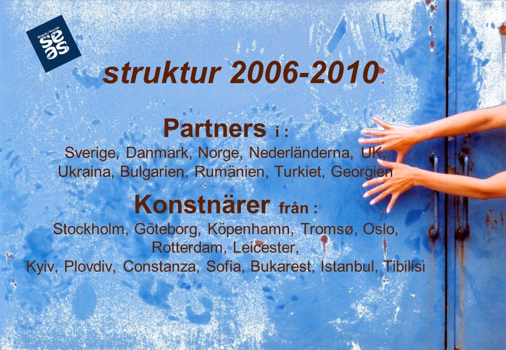 Partners i : Sverige, Danmark, Norge, Nederländerna, UK, Ukraina, Bulgarien, Rumänien, Turkiet, Georgien Konstnärer från : Stockholm, Göteborg, Köpenh