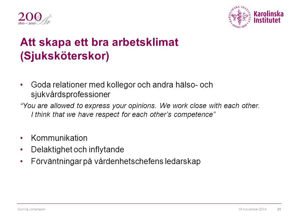 """Att skapa ett bra arbetsklimat (Sjuksköterskor) Goda relationer med kollegor och andra hälso- och sjukvårdsprofessioner """"You are allowed to express yo"""