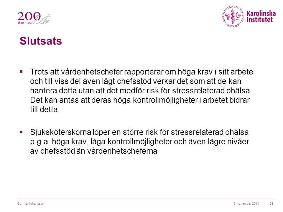 Slutsats  Trots att vårdenhetschefer rapporterar om höga krav i sitt arbete och till viss del även lågt chefsstöd verkar det som att de kan hantera detta utan att det medför risk för stressrelaterad ohälsa.