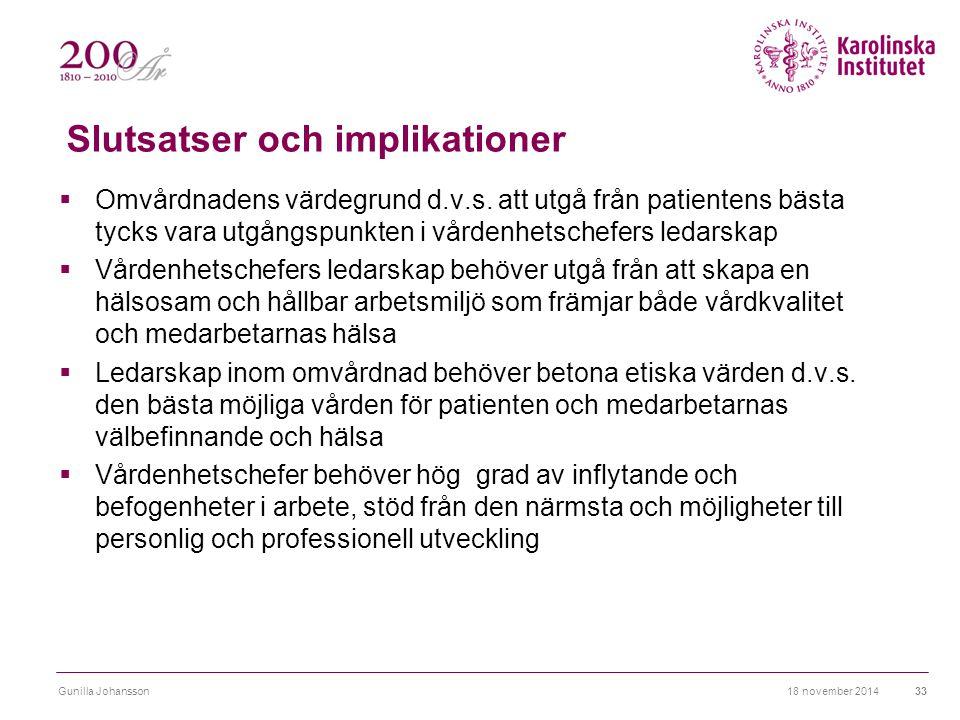 Slutsatser och implikationer  Omvårdnadens värdegrund d.v.s. att utgå från patientens bästa tycks vara utgångspunkten i vårdenhetschefers ledarskap 