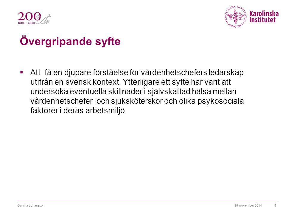 Övergripande syfte  Att få en djupare förståelse för vårdenhetschefers ledarskap utifrån en svensk kontext. Ytterligare ett syfte har varit att under