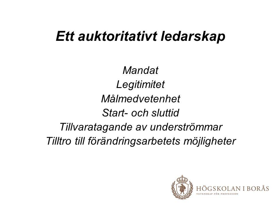 Ett auktoritativt ledarskap Mandat Legitimitet Målmedvetenhet Start- och sluttid Tillvaratagande av underströmmar Tilltro till förändringsarbetets möjligheter