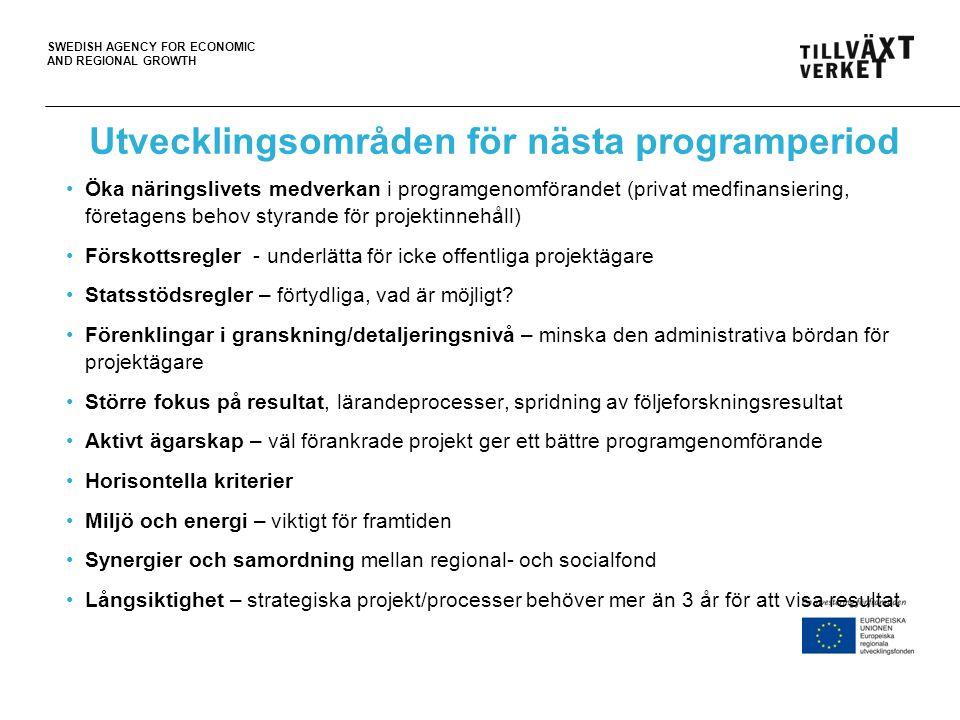 SWEDISH AGENCY FOR ECONOMIC AND REGIONAL GROWTH Utvecklingsområden för nästa programperiod Öka näringslivets medverkan i programgenomförandet (privat
