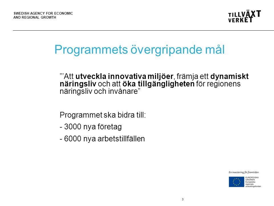 """SWEDISH AGENCY FOR ECONOMIC AND REGIONAL GROWTH 3 Programmets övergripande mål """"'Att utveckla innovativa miljöer, främja ett dynamiskt näringsliv och"""