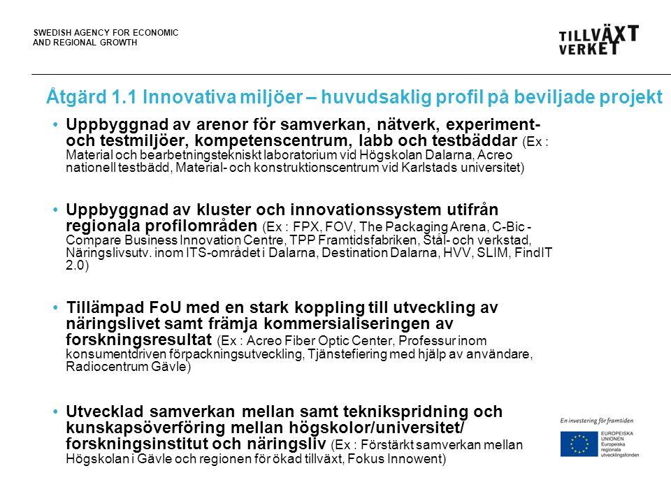 SWEDISH AGENCY FOR ECONOMIC AND REGIONAL GROWTH Åtgärd 1.1 Innovativa miljöer – huvudsaklig profil på beviljade projekt Uppbyggnad av arenor för samve