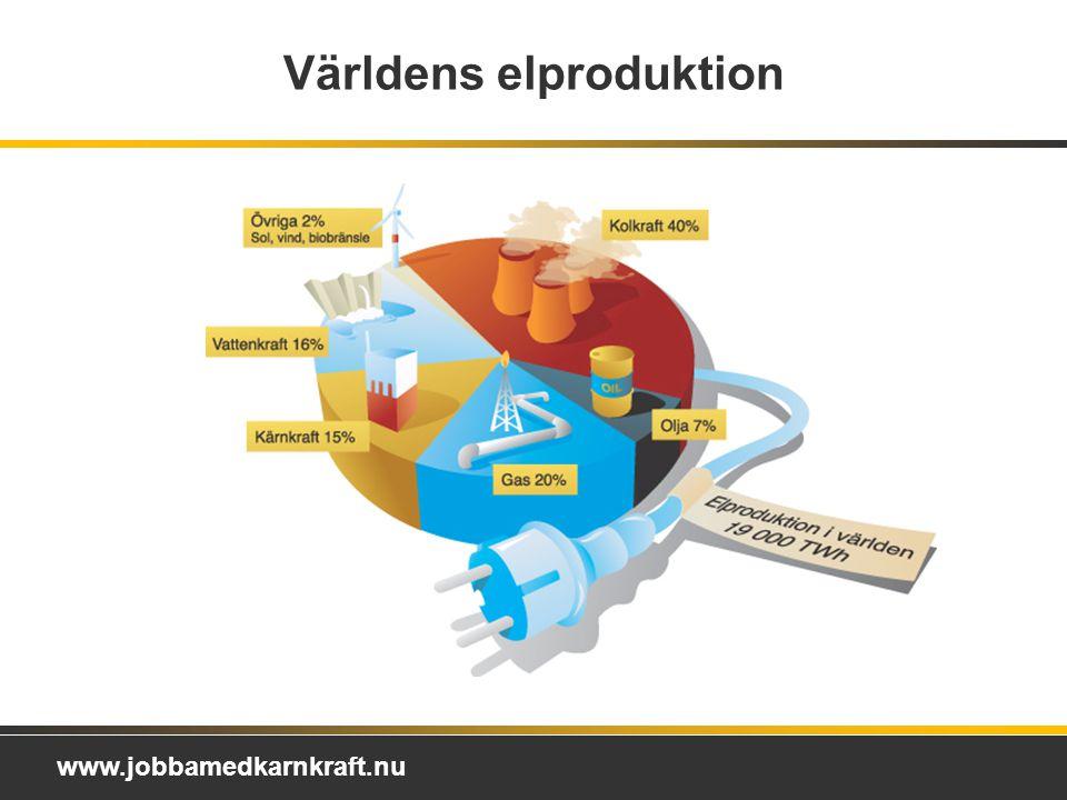 www.jobbamedkarnkraft.nu Världens elproduktion