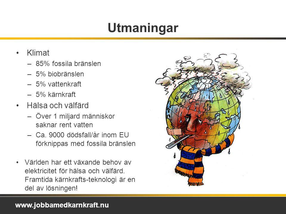 www.jobbamedkarnkraft.nu Utmaningar Klimat –85% fossila bränslen –5% biobränslen –5% vattenkraft –5% kärnkraft Hälsa och välfärd –Över 1 miljard människor saknar rent vatten –Ca.