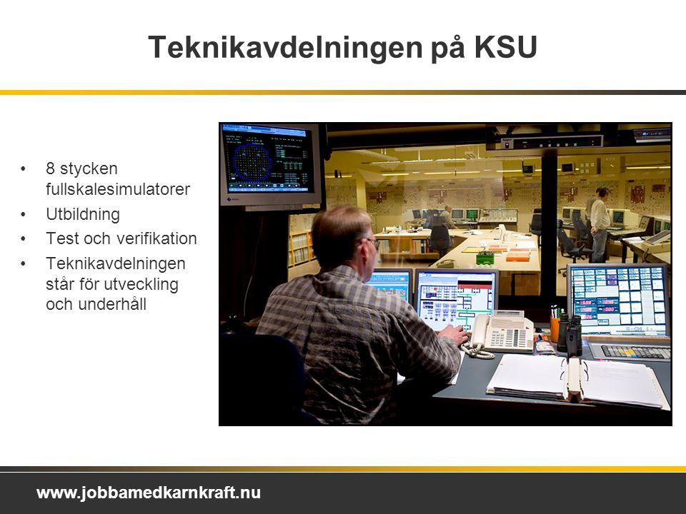 www.jobbamedkarnkraft.nu Teknikavdelningen på KSU 8 stycken fullskalesimulatorer Utbildning Test och verifikation Teknikavdelningen står för utveckling och underhåll