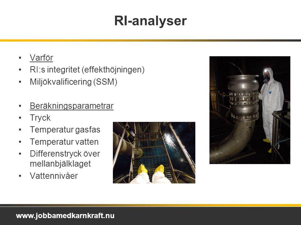 www.jobbamedkarnkraft.nu RI-analyser Varför RI:s integritet (effekthöjningen) Miljökvalificering (SSM) Beräkningsparametrar Tryck Temperatur gasfas Temperatur vatten Differenstryck över mellanbjälklaget Vattennivåer