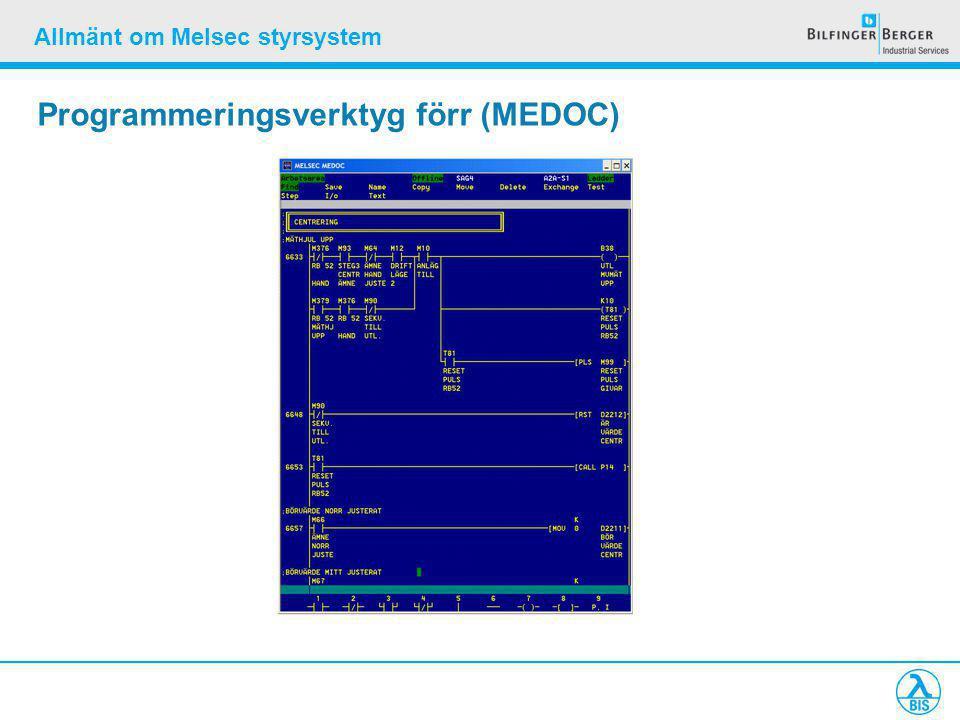 Allmänt om Melsec styrsystem Programmeringsverktyg förr (MEDOC)