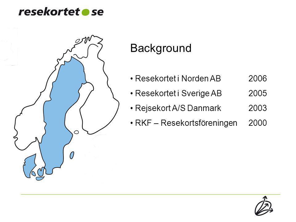 Background Resekortet i Norden AB 2006 Resekortet i Sverige AB2005 Rejsekort A/S Danmark 2003 RKF – Resekortsföreningen2000