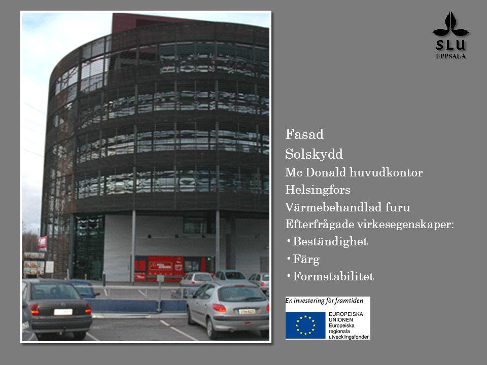 Fasad Solskydd Mc Donald huvudkontor Helsingfors Värmebehandlad furu Efterfrågade virkesegenskaper: Beständighet Färg Formstabilitet UPPSALA
