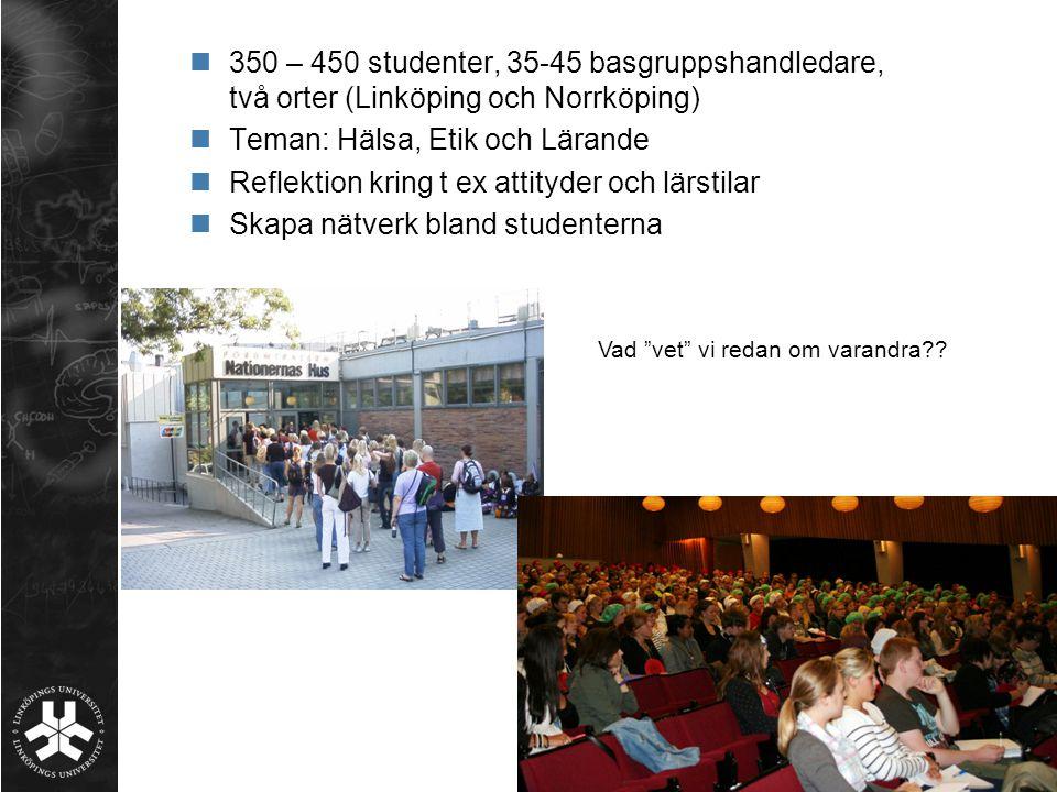 350 – 450 studenter, 35-45 basgruppshandledare, två orter (Linköping och Norrköping) Teman: Hälsa, Etik och Lärande Reflektion kring t ex attityder oc