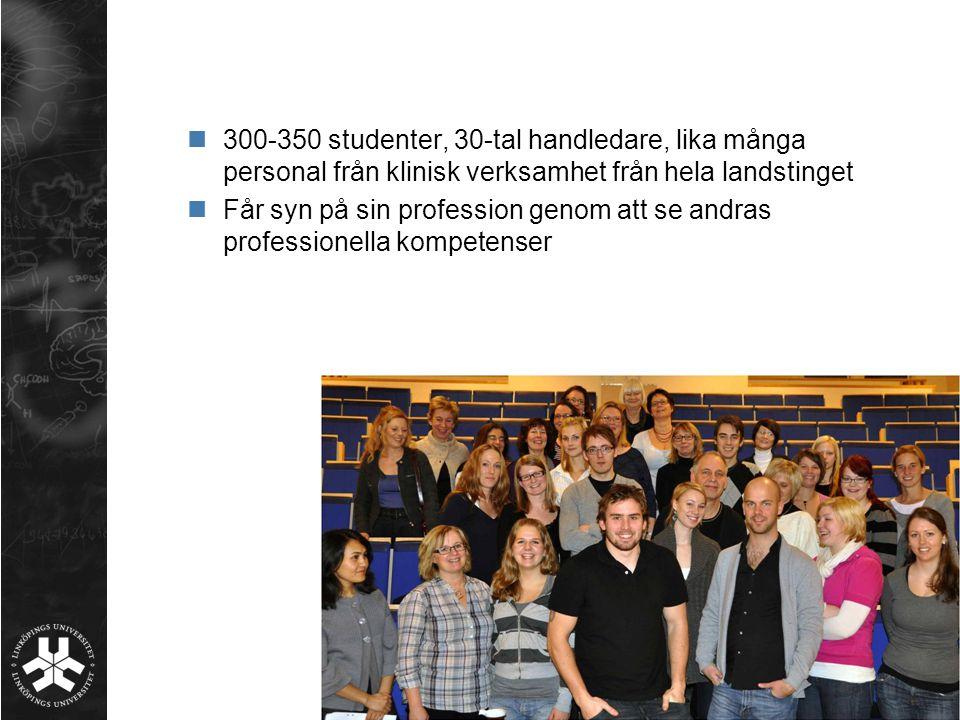 300-350 studenter, 30-tal handledare, lika många personal från klinisk verksamhet från hela landstinget Får syn på sin profession genom att se andras