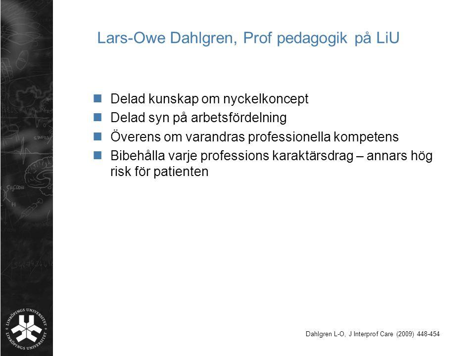 Lars-Owe Dahlgren, Prof pedagogik på LiU Delad kunskap om nyckelkoncept Delad syn på arbetsfördelning Överens om varandras professionella kompetens Bi