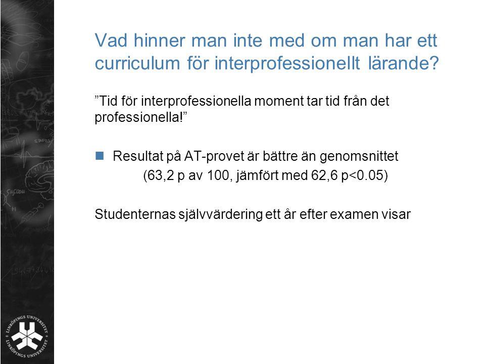 """Vad hinner man inte med om man har ett curriculum för interprofessionellt lärande? """"Tid för interprofessionella moment tar tid från det professionella"""