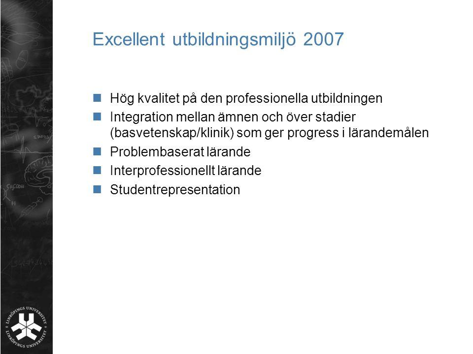 Excellent utbildningsmiljö 2007 Hög kvalitet på den professionella utbildningen Integration mellan ämnen och över stadier (basvetenskap/klinik) som ge