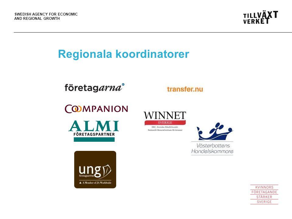 SWEDISH AGENCY FOR ECONOMIC AND REGIONAL GROWTH Regionala koordinatorer