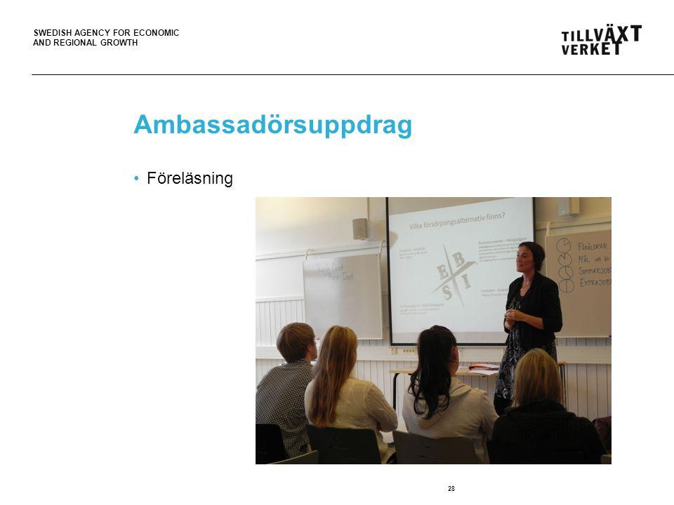 SWEDISH AGENCY FOR ECONOMIC AND REGIONAL GROWTH Ambassadörsuppdrag Föreläsning 28