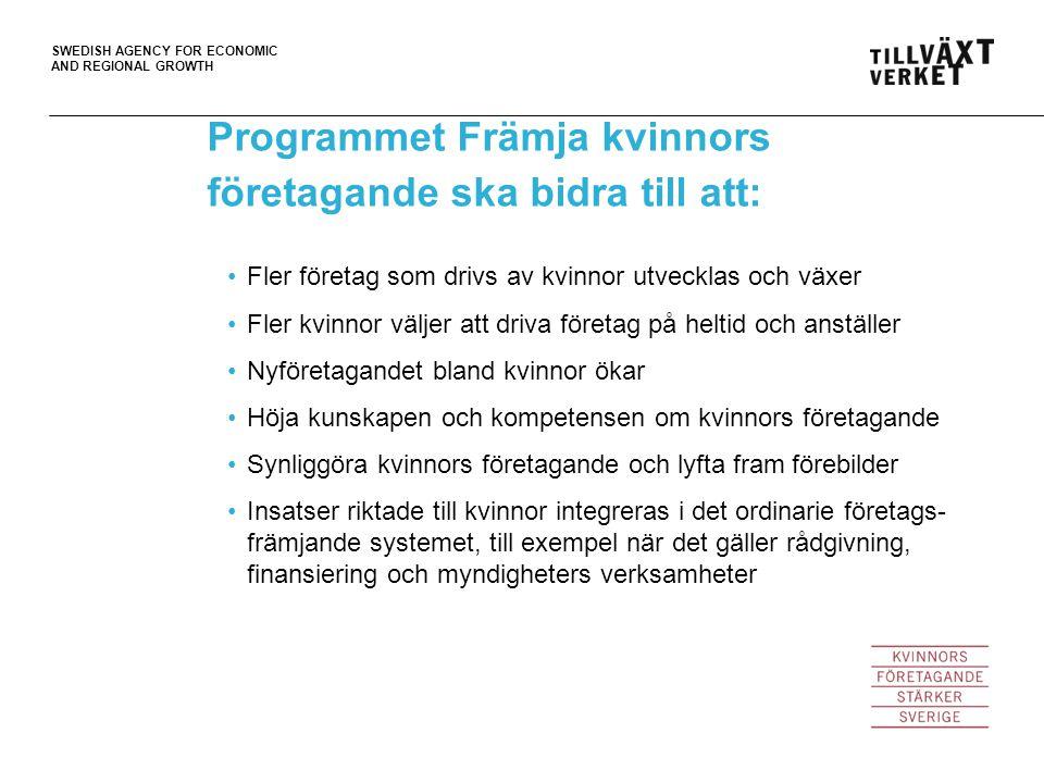 SWEDISH AGENCY FOR ECONOMIC AND REGIONAL GROWTH Fler företag som drivs av kvinnor utvecklas och växer Fler kvinnor väljer att driva företag på heltid