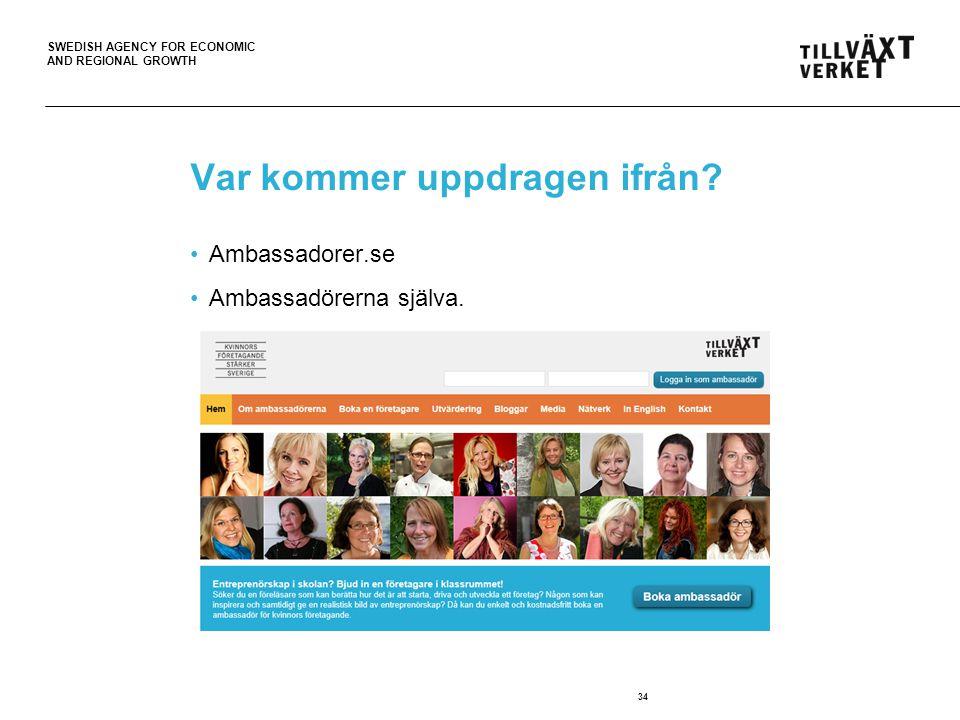 SWEDISH AGENCY FOR ECONOMIC AND REGIONAL GROWTH Var kommer uppdragen ifrån? Ambassadorer.se Ambassadörerna själva. 34