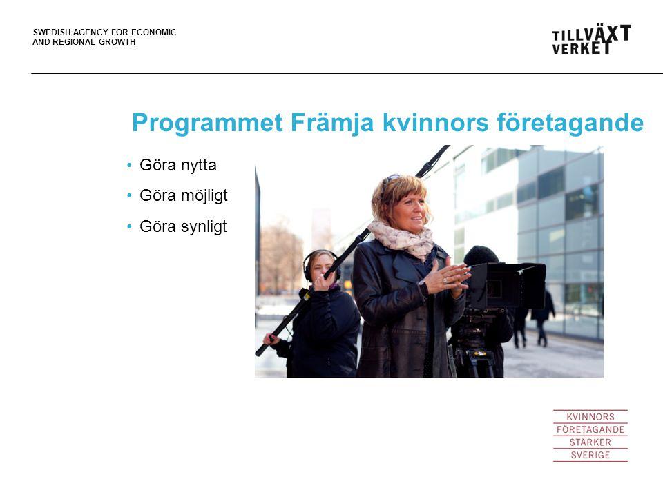 SWEDISH AGENCY FOR ECONOMIC AND REGIONAL GROWTH Ur regeringsuppdraget Som ambassadör ska man vara intresserad av att tala inför olika grupper, inspirera andra och dela med sig av sina erfarenheter som företagare.