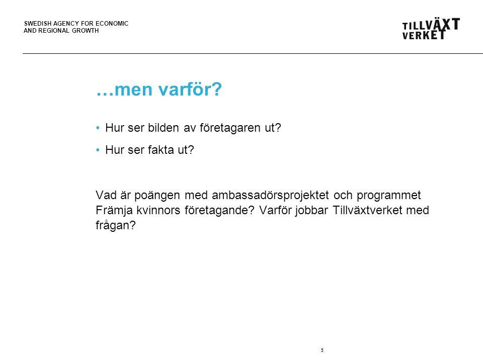 SWEDISH AGENCY FOR ECONOMIC AND REGIONAL GROWTH …men varför? Hur ser bilden av företagaren ut? Hur ser fakta ut? Vad är poängen med ambassadörsprojekt