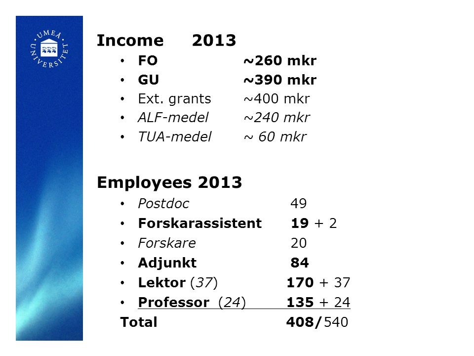 Income2013 FO ~260 mkr GU ~390 mkr Ext.