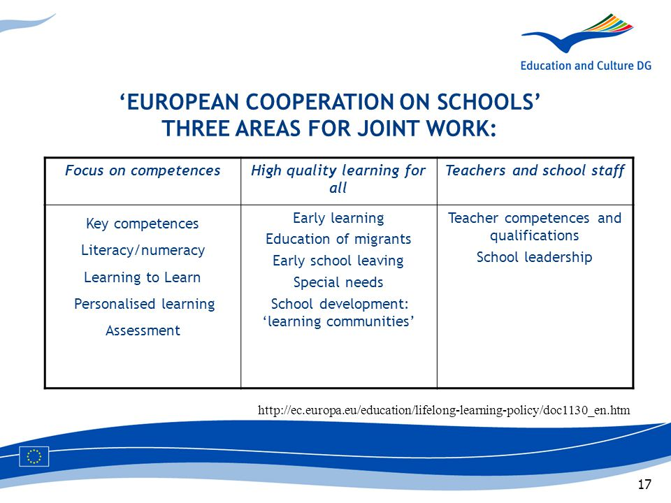 17 'EUROPEAN COOPERATION ON SCHOOLS' THREE AREAS FOR JOINT WORK: Focus on competencesHigh quality learning for all Teachers and school staff Key compe