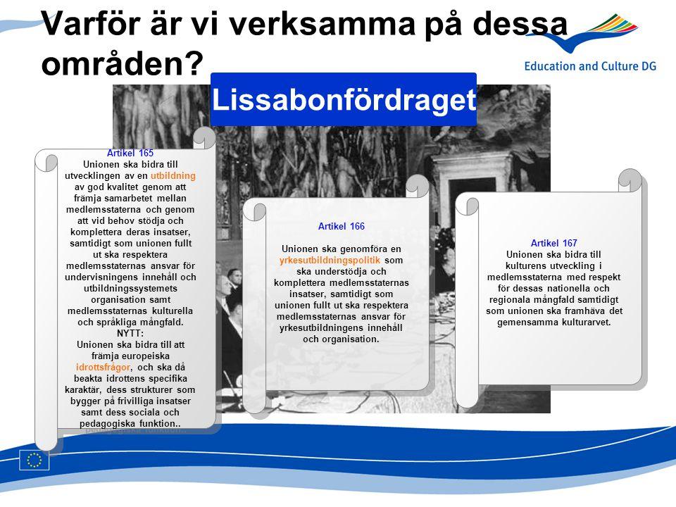 Varför är vi verksamma på dessa områden? Lissabonfördraget Artikel 165 Unionen ska bidra till utvecklingen av en utbildning av god kvalitet genom att