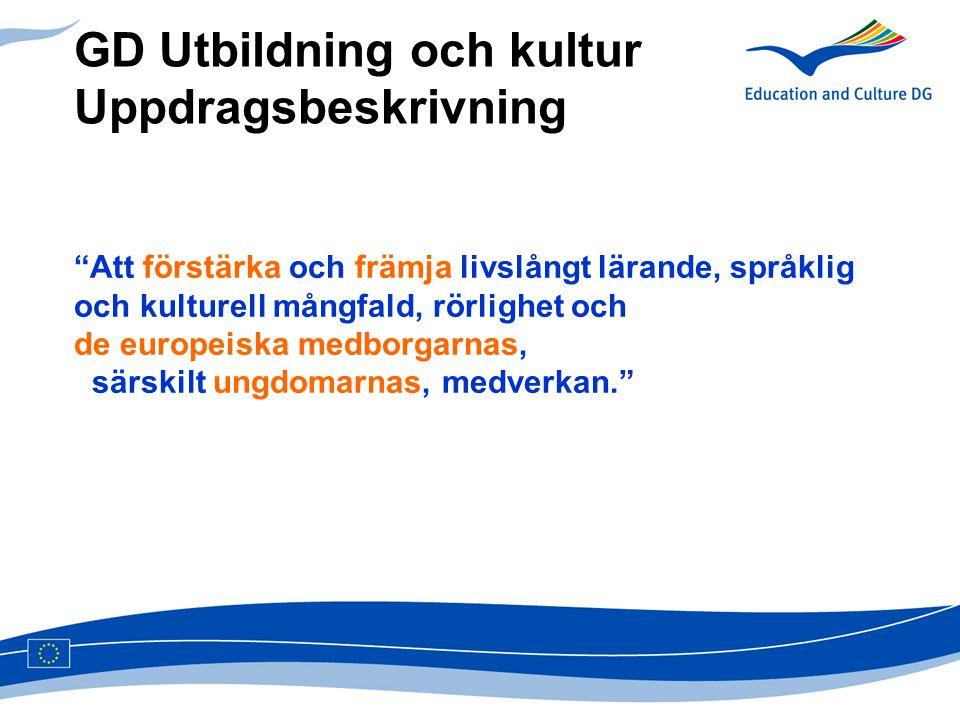 """GD Utbildning och kultur Uppdragsbeskrivning """"Att förstärka och främja livslångt lärande, språklig och kulturell mångfald, rörlighet och de europeiska"""