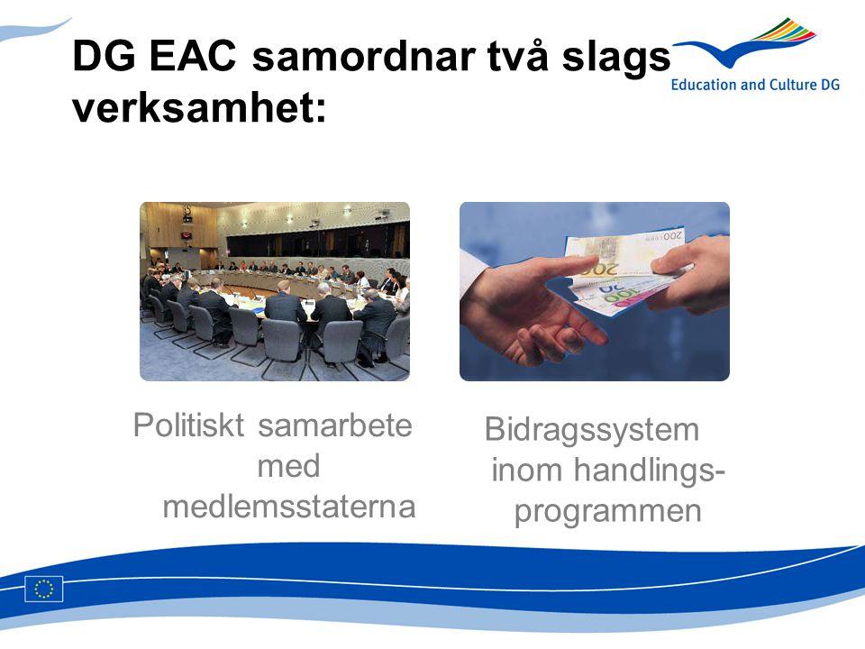 DG EAC samordnar två slags verksamhet: Politiskt samarbete med medlemsstaterna Bidragssystem inom handlings- programmen