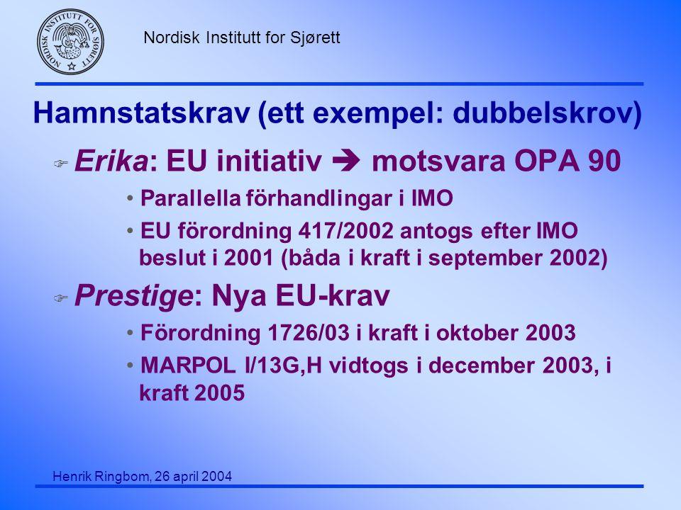 Nordisk Institutt for Sjørett Henrik Ringbom, 26 april 2004 Hamnstatskrav (ett exempel: dubbelskrov) F Erika: EU initiativ  motsvara OPA 90 Parallell