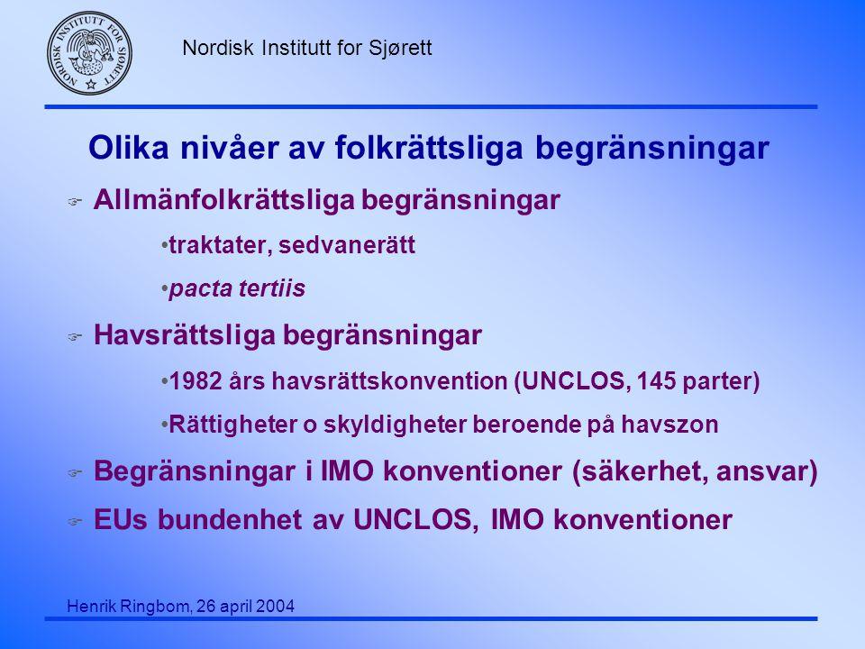 Nordisk Institutt for Sjørett Henrik Ringbom, 26 april 2004 Olika nivåer av folkrättsliga begränsningar F Allmänfolkrättsliga begränsningar traktater,