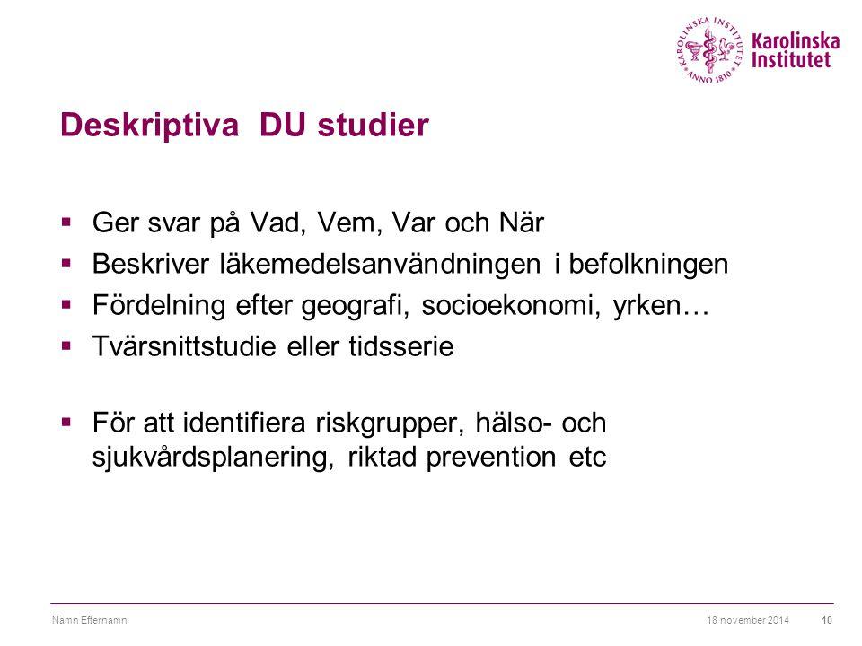 Deskriptiva DU studier  Ger svar på Vad, Vem, Var och När  Beskriver läkemedelsanvändningen i befolkningen  Fördelning efter geografi, socioekonomi