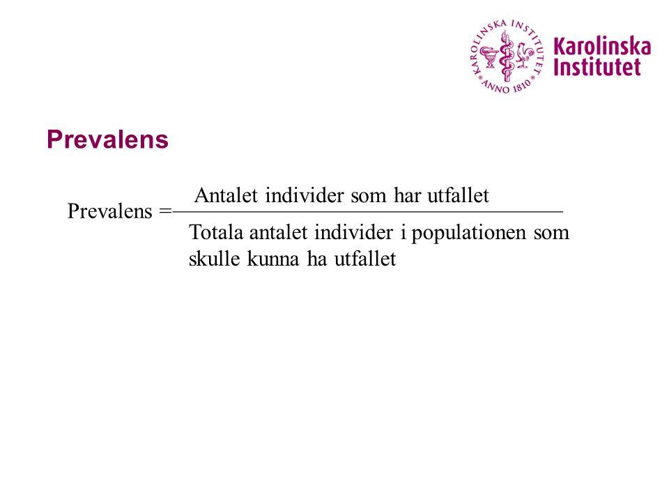 Prevalens Prevalens = Antalet individer som har utfallet ___________________________________ Totala antalet individer i populationen som skulle kunna