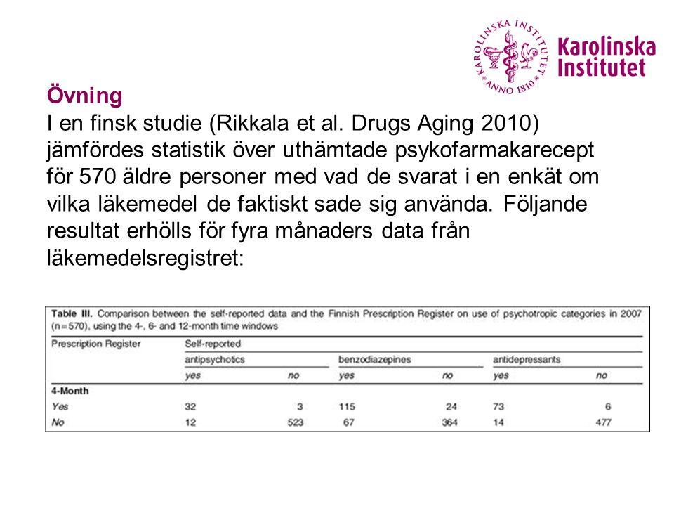 Övning I en finsk studie (Rikkala et al. Drugs Aging 2010) jämfördes statistik över uthämtade psykofarmakarecept för 570 äldre personer med vad de sva