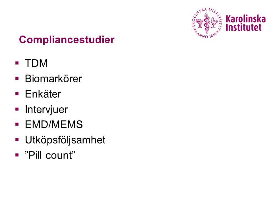 """Compliancestudier  TDM  Biomarkörer  Enkäter  Intervjuer  EMD/MEMS  Utköpsföljsamhet  """"Pill count"""""""