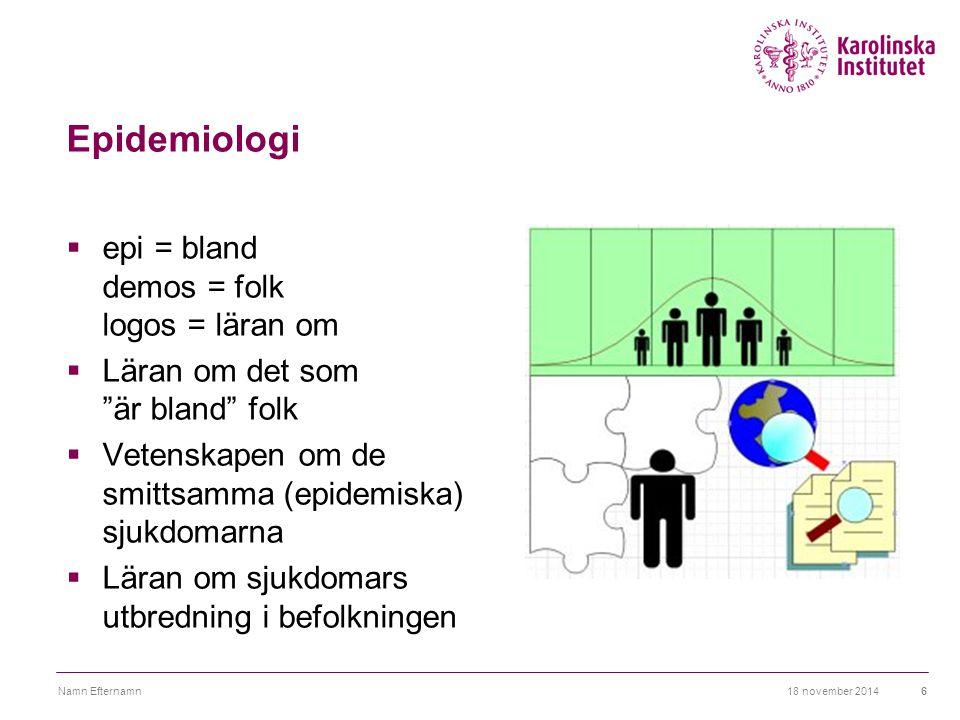 """Epidemiologi  epi = bland demos = folk logos = läran om  Läran om det som """"är bland"""" folk  Vetenskapen om de smittsamma (epidemiska) sjukdomarna """