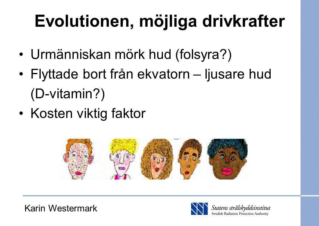 Evolutionen, möjliga drivkrafter Urmänniskan mörk hud (folsyra?) Flyttade bort från ekvatorn – ljusare hud (D-vitamin?) Kosten viktig faktor Karin Wes