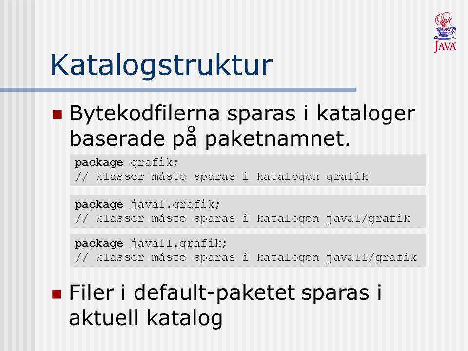 Katalogstruktur Bytekodfilerna sparas i kataloger baserade på paketnamnet. package grafik; // klasser måste sparas i katalogen grafik package javaI.gr