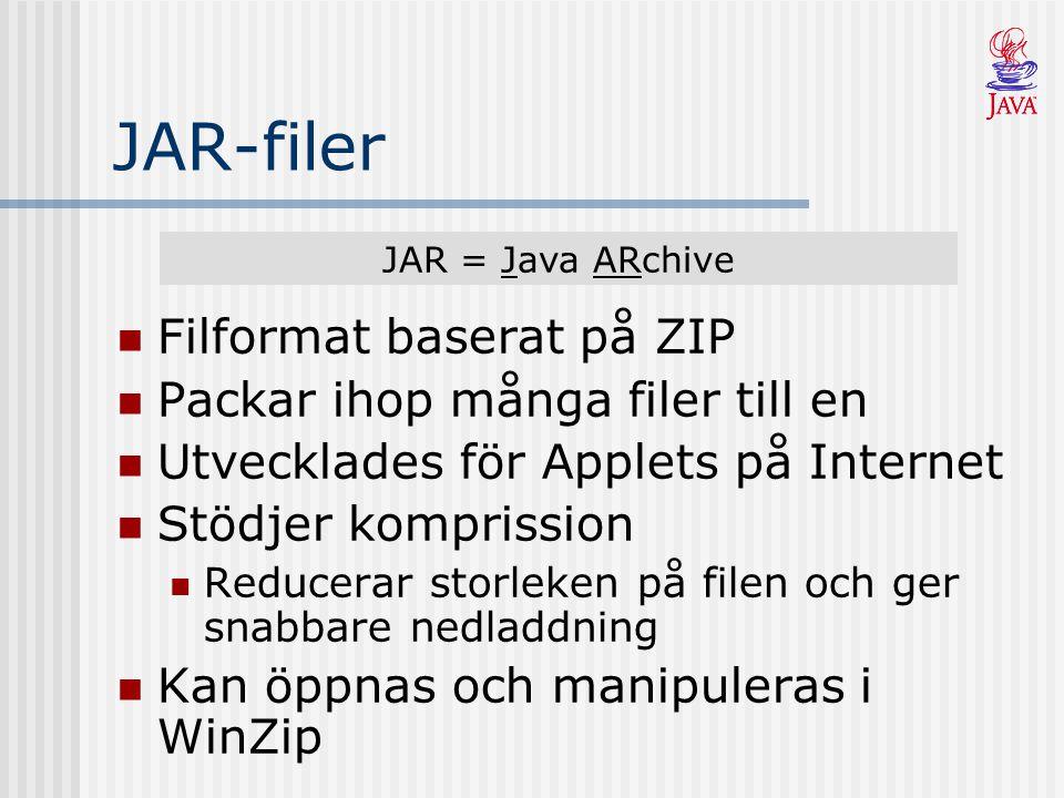 JAR-filer Filformat baserat på ZIP Packar ihop många filer till en Utvecklades för Applets på Internet Stödjer komprission Reducerar storleken på file