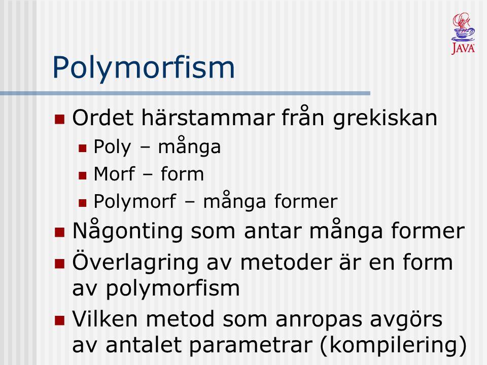 Polymorfism Alla metoder i Java har automatisk stöd för polymorfism En metod kan finnas i flera varianter och vilken som exekveras väljs under körning (dynamisk bindning) Utnyttjas framför allt när man ärvt och omdefinierat metoder Används för generella metoder i en arvshierarki (ex, print, beraknaArea)