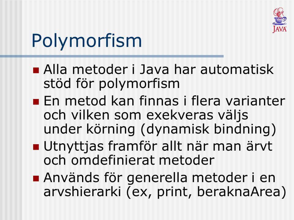 Polymorfism Alla metoder i Java har automatisk stöd för polymorfism En metod kan finnas i flera varianter och vilken som exekveras väljs under körning