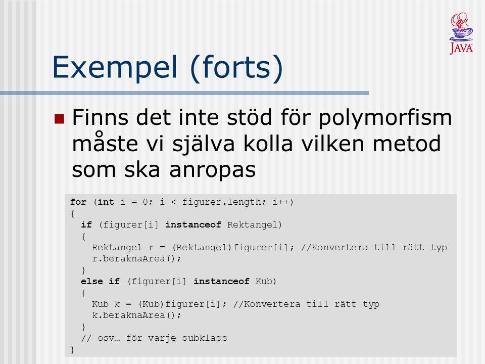 Exempel (forts) Finns stöd för polymorfism hittar exekveringsmiljön själv rätt metod under körning (dynamisk bindning) for (int i = 0; i < figurer.length; i++) { figurer[i].beraknaArea(); }