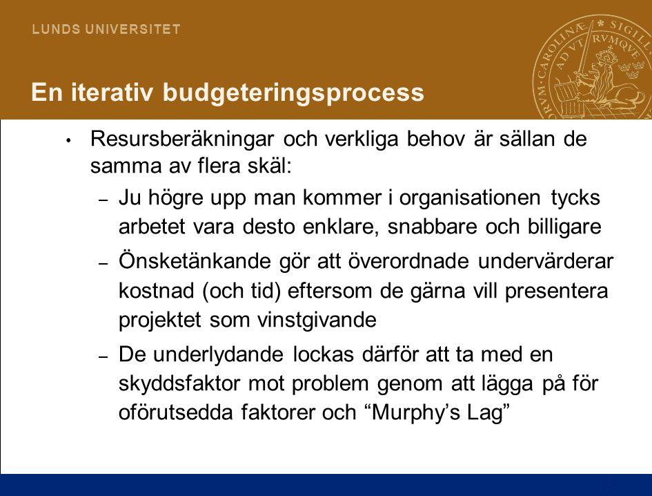 13 L U N D S U N I V E R S I T E T En iterativ budgeteringsprocess Resursberäkningar och verkliga behov är sällan de samma av flera skäl: – Ju högre u