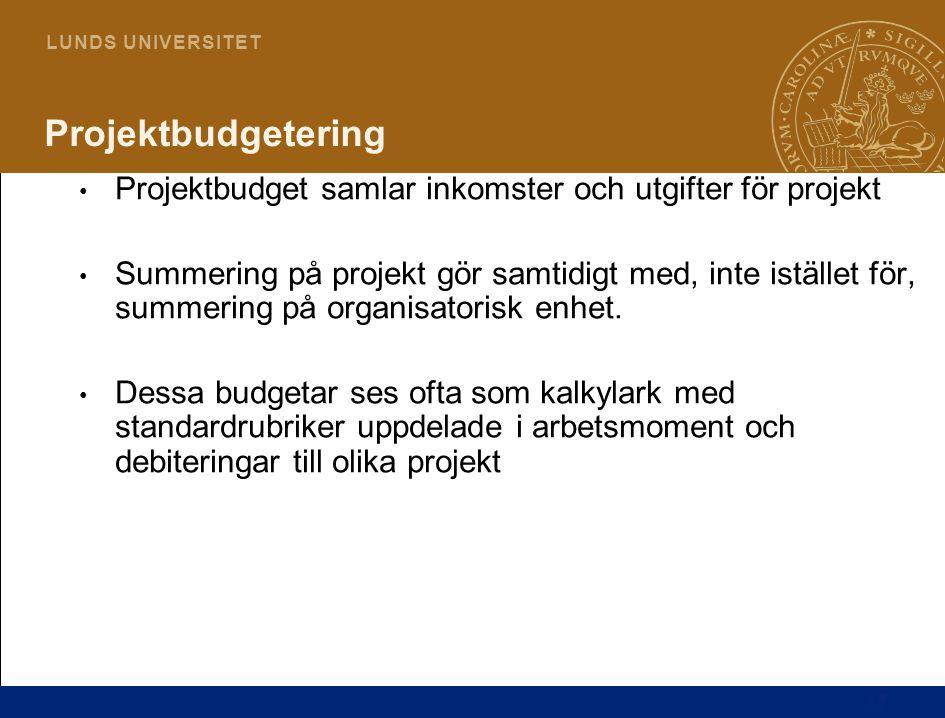 17 L U N D S U N I V E R S I T E T Projektbudgetering Projektbudget samlar inkomster och utgifter för projekt Summering på projekt gör samtidigt med,