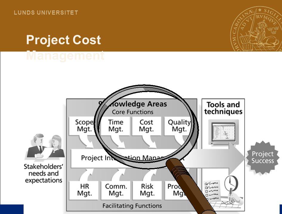 3 L U N D S U N I V E R S I T E T Project Cost Management